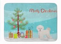 "Bichon Fris? Christmas Tree Machine Washable Memory Foam Mat - 19 X 27"""