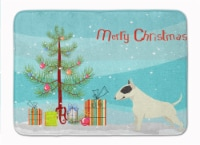 Black and White Bull Terrier Christmas Tree Machine Washable Memory Foam Mat