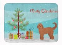 "Tan Goldendoodle Christmas Tree Machine Washable Memory Foam Mat - 19 X 27"""