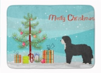 Black Sheepadoodle Christmas Tree Machine Washable Memory Foam Mat
