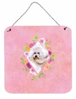Carolines Treasures  CK4119DS66 Bichon Fris? #1 Pink Flowers Wall or Door Hangin