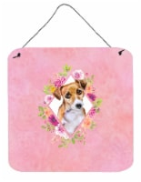 Jack Russell Terrier #1 Pink Flowers Wall or Door Hanging Prints