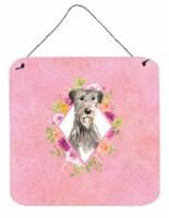 Carolines Treasures  CK4231DS66 Irish Wolfhound Pink Flowers Wall or Door Hangin - 6HX6W