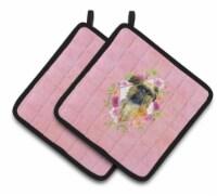 Carolines Treasures  CK4123PTHD Brussels Griffon Pink Flowers Pair of Pot Holder - Standard