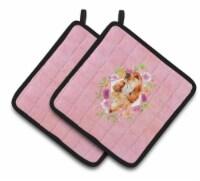 Cocker Spaniel #2 Pink Flowers Pair of Pot Holders
