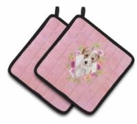Carolines Treasures  CK4198PTHD Jack Russell Terrier Pink Flowers Pair of Pot Ho