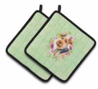 Carolines Treasures  CK4352PTHD Welsh Terrier Green Flowers Pair of Pot Holders - Standard