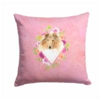Carolines Treasures  CK4216PW1414 Collie Pink Flowers Fabric Decorative Pillow