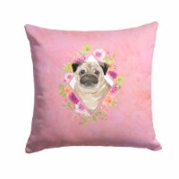 Carolines Treasures  CK4218PW1414 Fawn Pug Pink Flowers Fabric Decorative Pillow
