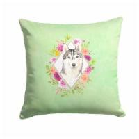 Siberian Husky Green Flowers Fabric Decorative Pillow - 14Hx14W