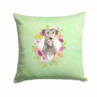 Irish Wolfhound Green Flowers Fabric Decorative Pillow - 14Hx14W