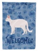 Carolines Treasures  CK4868GF White Devon Rex Cat Welcome Flag Garden Size
