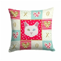 Carolines Treasures  CK5123PW1414 Khao Manee Cat Love Fabric Decorative Pillow