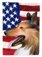 Collie Smooth Dog American Flag Flag Canvas House Size