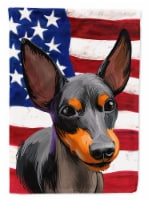 English Toy Terrier American Flag Flag Canvas House Size - House Size