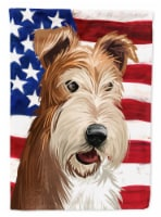 Fox Terrier Wire Dog American Flag Flag Canvas House Size