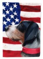 Griffon Bleu de Gascogne American Flag Flag Canvas House Size