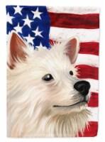 Indian Spitz Dog American Flag Flag Canvas House Size - House Size