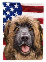 Carolines Treasures  CK6606CHF Leonberger American Flag Flag Canvas House Size - House Size