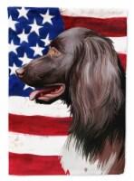 Small Munsterlander Dog American Flag Flag Canvas House Size - House Size