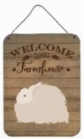 Fluffy Angora Rabbit Welcome Wall or Door Hanging Prints - 16HX12W