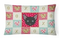 Russian White Black Cat Love Canvas Fabric Decorative Pillow
