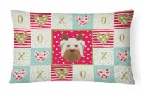 Australian Silky Terrier Love Canvas Fabric Decorative Pillow