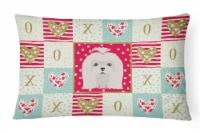 Carolines Treasures  CK5217PW1216 Maltese Love Canvas Fabric Decorative Pillow - 12Hx16W