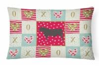 Carolines Treasures  CK5255PW1216 Black Angus Cow Love Canvas Fabric Decorative - 12Hx16W
