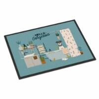 Salt and Pepper Miniature Schnauzer in Bathtub Indoor or Outdoor Mat 24x36 - 24Hx36W