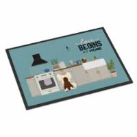 Cream Chinese Crested Kitchen Scene Indoor or Outdoor Mat 24x36 - 24Hx36W