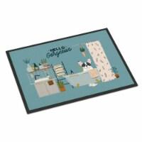 Piebald French Bulldog in Bathtub Indoor or Outdoor Mat 18x27 - 18Hx27W
