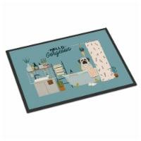White Mastiff Brindle in Bathtub Indoor or Outdoor Mat 18x27 - 18Hx27W
