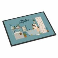Brindle White English Bulldog in Bathtub Indoor or Outdoor Mat 18x27 - 18Hx27W