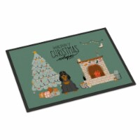 Black Tan Cocker Spaniel Christmas Everyone Indoor or Outdoor Mat 18x27 - 18Hx27W