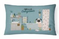 Carolines Treasures  CK7426PW1216 Cream Pug in Bathtub Canvas Fabric Decorative