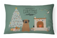 Brindle Mastiff Christmas Everyone Canvas Fabric Decorative Pillow - 12Hx16W