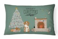Brittany Spaniel Christmas Everyone Canvas Fabric Decorative Pillow - 12Hx16W