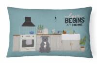 Blue Staffordshire Bull Terrier Kitchen Scene Canvas Fabric Decorative Pillow