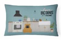 Red English Bulldog Kitchen Scene  Canvas Fabric Decorative Pillow