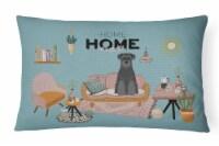 Black Standard Schnauzer Sweet Home Canvas Fabric Decorative Pillow - 12Hx16W