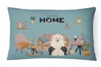 Old English Sheepdog Sweet Home Canvas Fabric Decorative Pillow