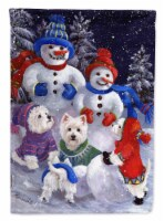 Carolines Treasures  PPP3135CHF Westie Snowpeople Flag Canvas House Size