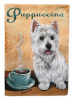 Carolines Treasures  PPP3225CHF Westie Puppuccino Flag Canvas House Size