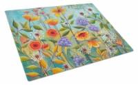 Carolines Treasures  PPD3016LCB Fresh Air Flowers Glass Cutting Board Large