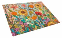 Joy in the Morning Flowers Glass Cutting Board Large