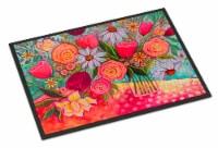Carolines Treasures  PPD3019MAT Polka Dots Flowers Indoor or Outdoor Mat 18x27