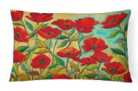 Poppy Garden Flowers Canvas Fabric Decorative Pillow - 12Hx16W