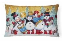 Snowmen Strike up the Band Canvas Fabric Decorative Pillow - 12Hx16W