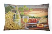 Chablis, Peach, Wine and Cheese Canvas Fabric Decorative Pillow - 12Hx16W